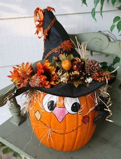 love the witch hat on pumpkin idea but would paint a different face -- or just the jack-o-lantern's face