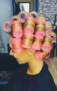 Once his long hair had been highlighted blonde, Stewart had asked for the pretty pink rollers for his wetset. ...he loved seeing his tresses wrapped around girly pink rollers! !