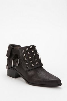 Grey City Fold-Over Stud Ankle Boot