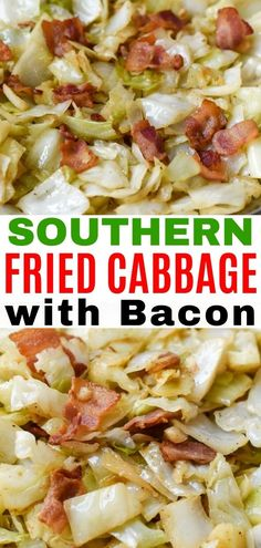 Fried cabbage with bacon and onion is a classic Southern recipe! It's also keto friendly. Made with tender fried cabbage, and crispy bacon this is the perfect side dish for family dinners! Fried Cabbage Recipes, Bacon Fried Cabbage, Cabbage And Beef, Onion Recipes, Vegetable Recipes, Beef Recipes, Cabbage Onion Bacon Recipe, Fall Recipes, Healthy Low Carb Dinners
