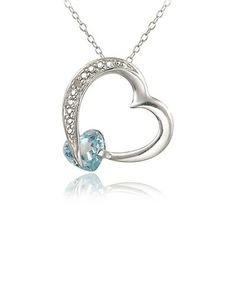 This Blue Topaz & Sterling Silver Open Heart Pendant Necklace is perfect! #zulilyfinds
