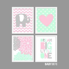 Mint Pink Grey Baby Girl Nursery art prints Dream by babyartprints
