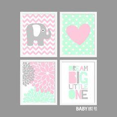 Mint Pink Grey Baby Girl Nursery art prints Dream by babyartprints