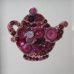 Wine color button teapot kitchen button art by BeadsButtons4Crafts