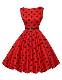 Chic Vintage années 50 's Style Audrey Hepburn Rockabilly Swing robe de fête de pique-nique - - S