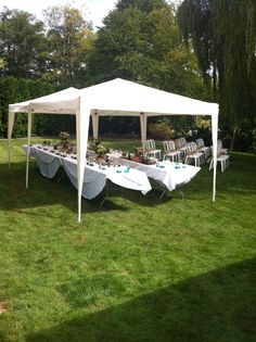 tent set-up for small backyard wedding More