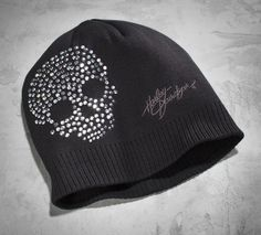 Keeping you warm while looking incredibly cool. | Harley-Davidson Women's Crystal Skull Knit Hat