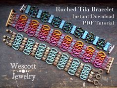 Pattern for Ruched Tila Bracelet Cuff with Two Hole Miyuki