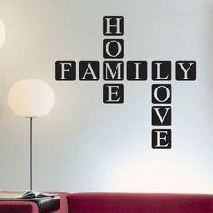 Family Home Love Scrabble Tile Vinyl Wall Lettering Block Decal