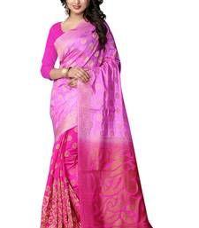 Buy pink hand woven banarasi silk saree with blouse banarasi-silk-saree online