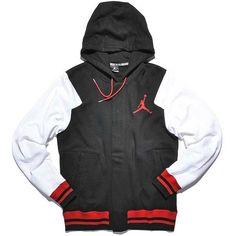 jordan THE VARSITY HOODY ($77) ❤ liked on Polyvore featuring tops, hoodies, sweatshirts hoodies, hooded pullover and hooded sweatshirt