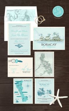 Filipino wedding invitation wedding stuff pinterest filipino destination wedding invitation boracay island the philippines filipino wedding blue bilingual illustrated wedding invitation deposit payment stopboris