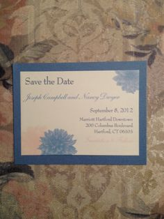 simply elegant save the dates. custom designed graphics text sheet mounted to a coordinated mat.