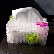 Diy handmade beaded quadripartite material kit transparent corner beads a acrylic tissue box(China (Mainland))