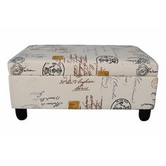 Add vintage style to your contemporary home with this sophisticated storage ottoman. Made with solid wood with a walnut finish, this upholstered bench ottoman features a beautiful vintage stamp fabric and opens to provide plentiful storage space.