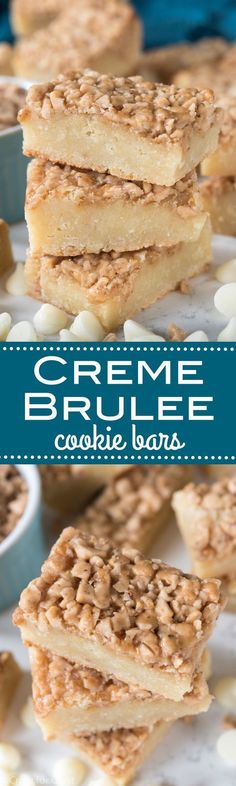 Creme Brulee Cookie Bars - this easy cookie bar recipe tastes like creme brulee in a bar cookie! Creme Brulee Cookie Bars - this easy cookie bar recipe tastes like creme brulee in a bar cookie! 13 Desserts, Delicious Desserts, Yummy Food, Plated Desserts, Baking Recipes, Cookie Recipes, Dessert Recipes, Bar Recipes, Tofu Recipes