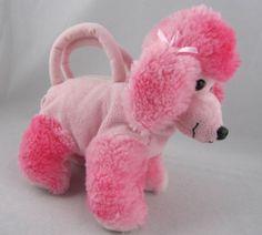 "Soft Classics 8"" Plush Stuffed Poodle Dog Purse Pink Animal Zip Pouch Bows | eBay"