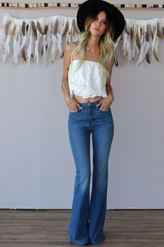 PYLO GYPSY DENIM BELLBOTTOMS IN LENNON - PYLO