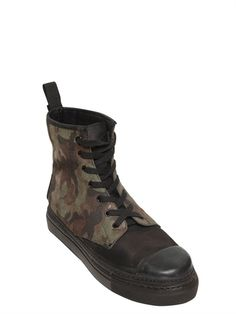 GIENCHI - CAMOUFLAGE LEATHER HIGH TOP SNEAKERS - LUISAVIAROMA - LUXURY SHOPPING WORLDWIDE SHIPPING - FLORENCE