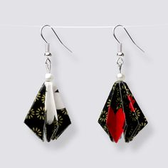 Origami Flower Drop Earrings - HZ444 Dangly Earrings, Drop Earrings, Origami Artist, Origami Jewelry, Origami Flowers, Japanese Paper, Blooming Flowers, Handmade Accessories, Great Gifts