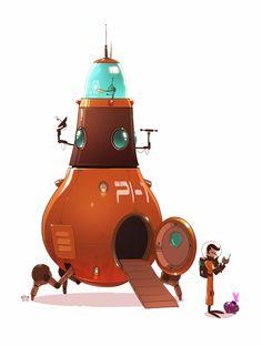 "stuff. (by ido yehimovitz): Dave & Jedediah. P.I (Planetary Investigators) - PI-1 ""Conehead"" class Space Vessel"