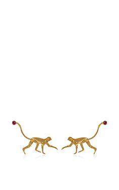 Micro Monkey Earrings by Marc Alary for Preorder on Moda Operandi