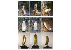 """""""GoldQuelle"""": Holz Skulptur aus Kirsche, z.T. mit 24 Karat Blattgold vergoldet. Aus der Skulptur scheint flüssiges Gold unendlich heraus zu fliessen. Weitere Skulpturen aus Holz und Stein des Bildhauers aus Köln, z.T. vergoldet mit 24 Karat Blattgold sind auf meiner website zu sehen."""