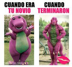 meme ok chicas barny el dinosaurio antes y despues