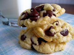Cake Batter Chocolate Chip Cookies:  1 Box Duncan Hines Cake Mix  2 eggs  1 stick butter  1 tsp baking powder  chocolate chips  Bake @ 350 for 10-12 minutes