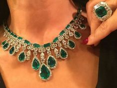 Gorgeous Emerald and Diamond Necklace and Ring