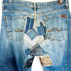 Custom Patched Jeans, custom jeans, Levi's, customized jeans, Levi's jeans, denim on denim, denim porn, patchwork, denim, artbya