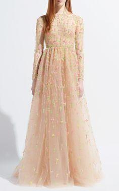 Praline Multi Tulle Illusione Gown by Valentino for Preorder on Moda Operandi
