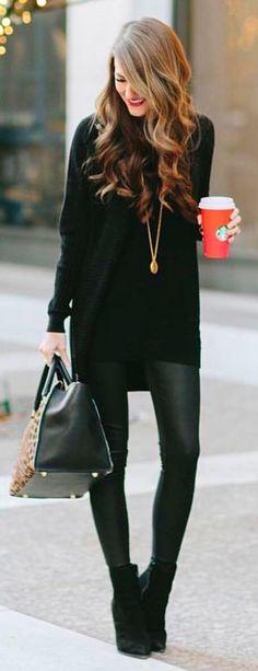 #winter #fashion /  Black Knit / Black Leather Leggings / Black Booties / Leopard Tote Bag
