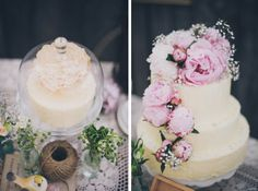 Soft iced wedding cakes with fresh flower decoration // Cakes: Milly's Cupcakes, Photography: Scott Surplice Photography.