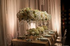 Palm Event Center hosted our lovely Paris Blush linens and was photographed by Tyler Vu - soft and sparkly!