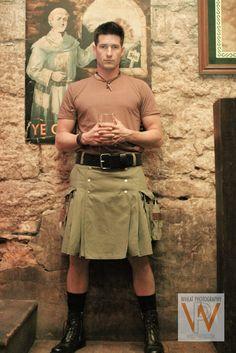 Kilts are sportswear.   Model: Jarrod Townsend (www.manifest-talent.com)   Photo: www.wheatphoto.com