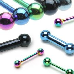 """Industrial Barbell Colored Barbell Body Jewelry Surgical Steel Body Piercing 1 1/2"""""""
