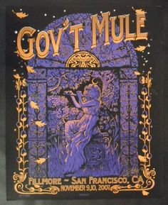 Original silkscreen concert poster for Gov't Mule at The Fillmore Auditorium in San Francisco, CA in 2007. 16.5 x 20 inches. Signed by the artist Richard Biffle.