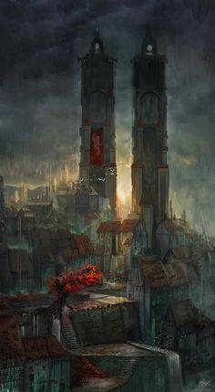 a deserted city by nurkhular - Concept Art by Flavio Bolla Fantasy City, Fantasy Places, Fantasy World, Fantasy Concept Art, Fantasy Artwork, Environment Concept Art, Environment Design, Fantasy Landscape, Landscape Art