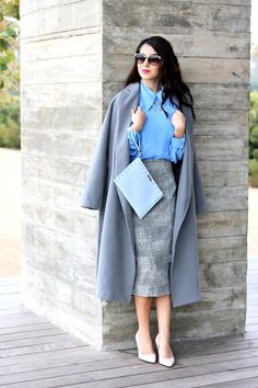 Sophisticated Work Outfit. Cool Tone Colors with Pastel Tone Colors. Grey Trench Coat. Baby Blue Blouse. Light Pink Pumps. Light Grey Pencil Skirt. Light Blue Clutch. Work Wear. Sophisticated Style. Office Outfits.
