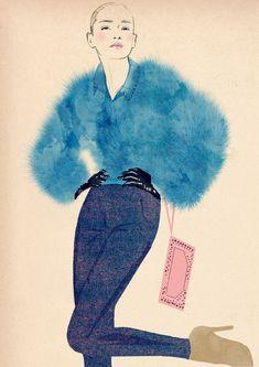 Fashion illustration - blue fur jacket, chic fashion drawing // Sandra Suy