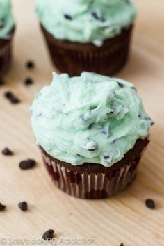Easter dessert idea?? Chocolate Cupcakes with Mint Chocolate Chip Frosting