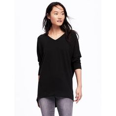 Old Navy Womens Super Soft Inverted Tunic ($25) ❤ liked on Polyvore featuring tops, tunics, black, v neck tunic, long sleeve tops, old navy tunic, old navy tops and french terry tops