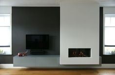 tv on dark shiplap wall.fireplace on white shiplap wall add floating wood mantle Fireplace Tv Wall, Basement Fireplace, Modern Fireplace, Fireplace Surrounds, Living Room Tv, Living Room With Fireplace, Living Room Modern, Living Room Designs, Contemporary Fireplace Designs