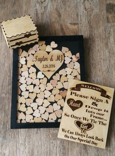 100 heart Wedding Guest book Sign and Drop in Frame (Alternate Guestbook) Shadow Box Guest Book, Sign & Heart Box for up to 100 Guest