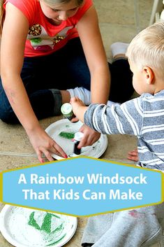 A Rainbow Windsock That Kids Can Make Rainbow Activities, Rainbow Crafts, Toddler Preschool, Toddler Activities, Holiday Crafts, Fun Crafts, Paper Plate Animals, Paper Plate Crafts For Kids, Teaching Colors