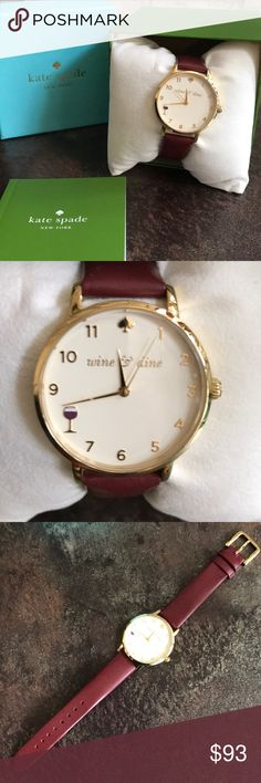 Kate Spade Wine & Dine Watch Burgundy leather strap with gold outer hardware.  Only used 3 times!  Yet does show few scratches and leather wear. Includes all photographed materials.  Over all B+ condition! kate spade Accessories Watches