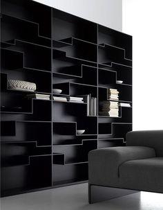 Great minimal black bookcase.