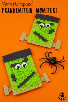 This Yarn Wrapped Frankenstein Craft is so fun. An easy Halloween craft for little kids. A monstrously good recycled craft for building fine motor skills! Halloween Crafts For Kids, Halloween Activities, Diy Halloween Decorations, Halloween Fun, Halloween Cupcakes, Summer Activities For Kids, Halloween Treats, Monster Crafts, Monster Activities