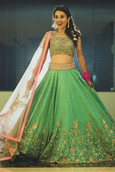 Buy Green Banglori Silk Heavy Work Designer Lehenga Choli online in India at best price.This Green Banglori Silk Heavy Work Designer Lehenga Choli is nicely embroidered patch work. Indian Wedding Lehenga, Indian Bridal Wear, Pakistani Bridal Dresses, Indian Dresses, Indian Outfits, Indian Clothes, Indian Wear, Bridal Dupatta, Bride Indian